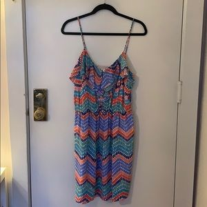 Shoshanna Print Ruffle Dress 100% Silk